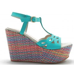 460285-Sandalo charleston con zeppa multicolor in pelle turchese