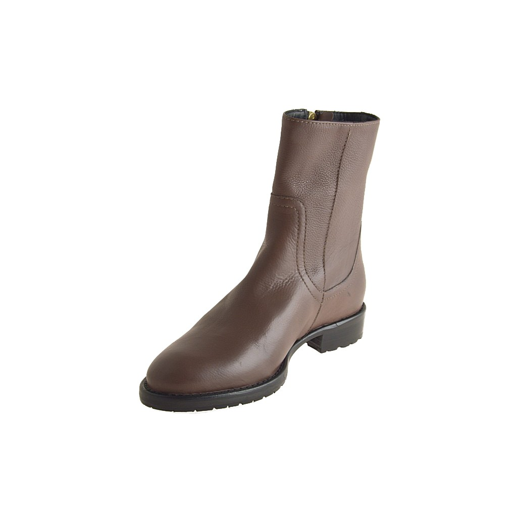 small or large brown leather ankle boot with zipper