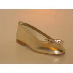 Ballerina da donna con fiocco in pelle colore platino tacco 1 - Misure disponibili: 32