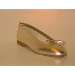 Woman's ballerina with bow in platinum leather heel 1 - Available sizes:  32