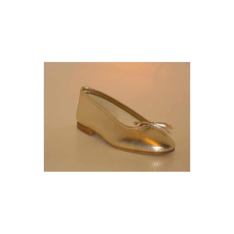 Damenballerinaschuh mit Schleife aus platinfarbenem Leder Absatz 1 - Verfügbare Größen:  32