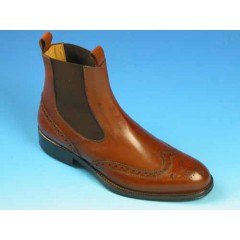 Men's ankle boot with elastic bands and Brogue decorations in light brown leather - Available sizes:  37, 40, 43, 44, 45, 52