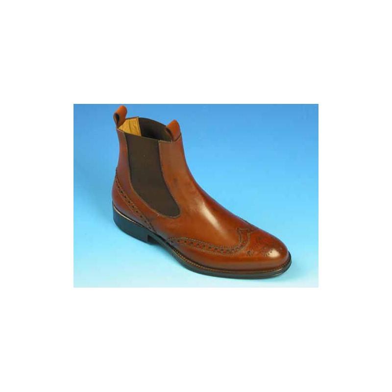 Botines para hombre con elasticos y decoraciones Brogue en piel marron claro - Tallas disponibles:  37, 40, 43, 44, 45