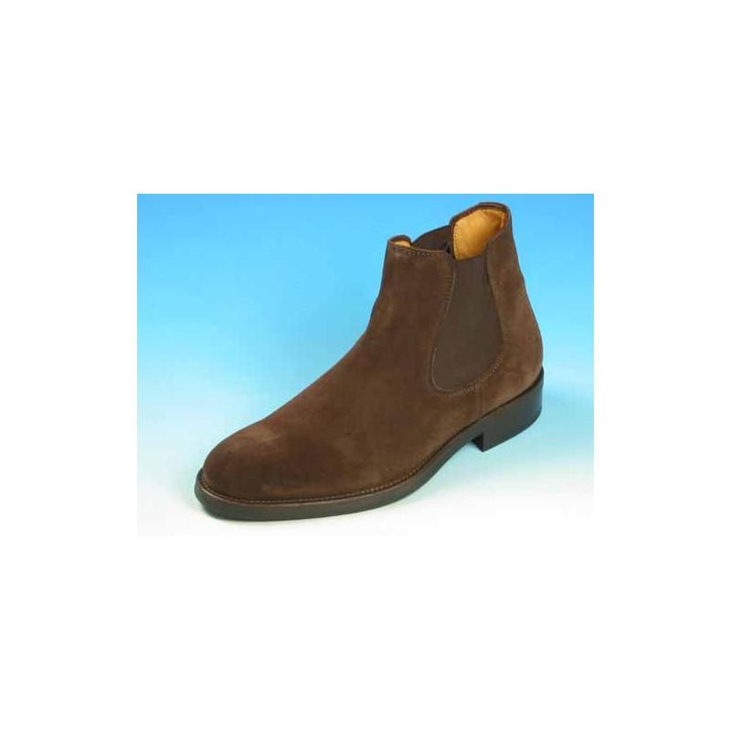 Botines para hombre con elasticos en gamuza marron - Tallas disponibles:  40, 44