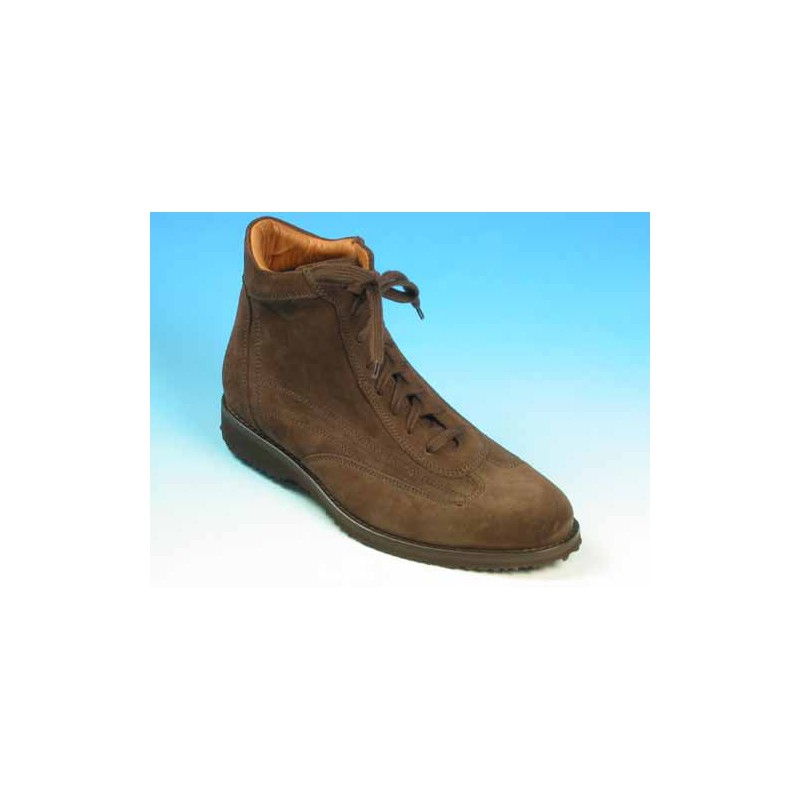 Men's laced ankle shoe in brown suede - Available sizes:  36, 40, 41, 42, 43, 45