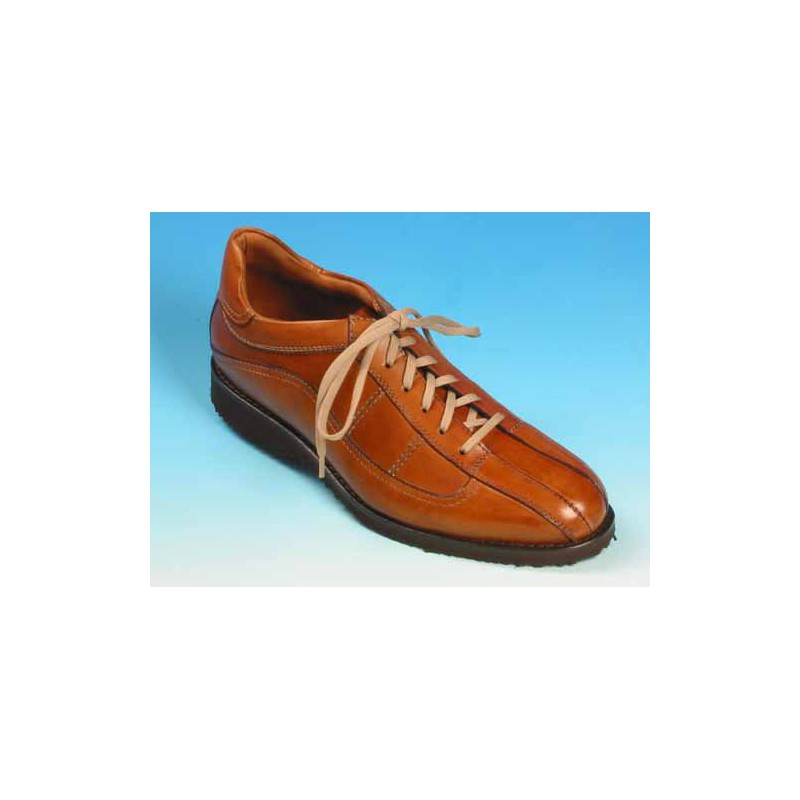 Men's laced shoe in tan brown leather - Available sizes:  42, 43, 53