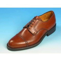Men's laced derby shoe with captoe in tan brown leaher - Available sizes:  39, 40, 41, 43, 44, 52, 53, 54