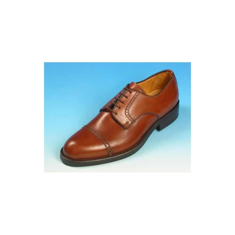 Zapato derby con cordones con puntera en piel color cuero - Tallas disponibles:  39, 40, 41, 43, 44, 52, 53, 54