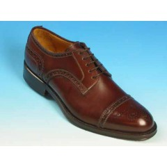 Men's laced derby shoe with floral captoe in mohogany brown leather - Available sizes:  40, 43, 52, 53
