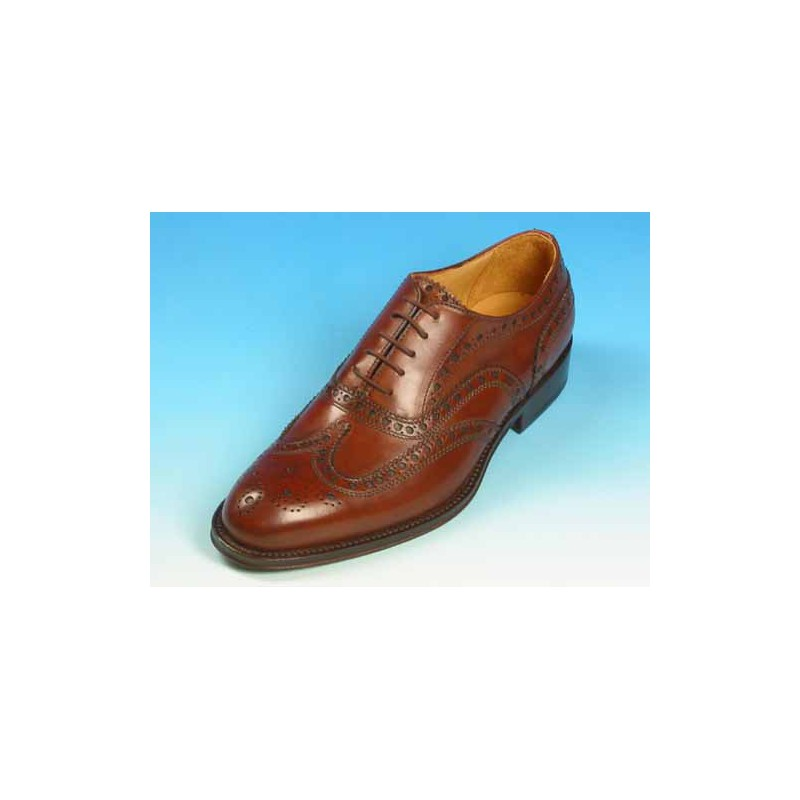 Men's laced Oxford shoe with Brogue decorations in mohogany brown leather - Available sizes:  40, 41, 45, 52, 53, 54