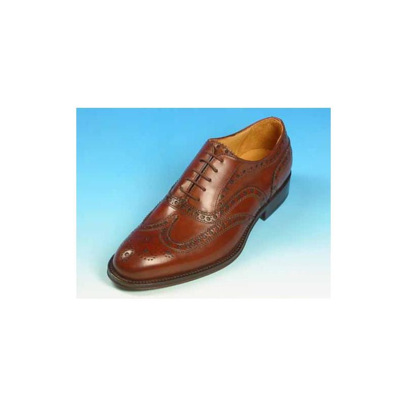 Zapato oxford con cordones y decoraciones Brogue en piel marron caoba - Tallas disponibles:  40, 41, 45, 52, 53, 54