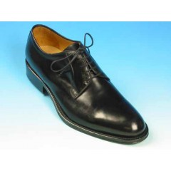 Men's laced derby shoe in black smooth leather - Available sizes:  53, 54