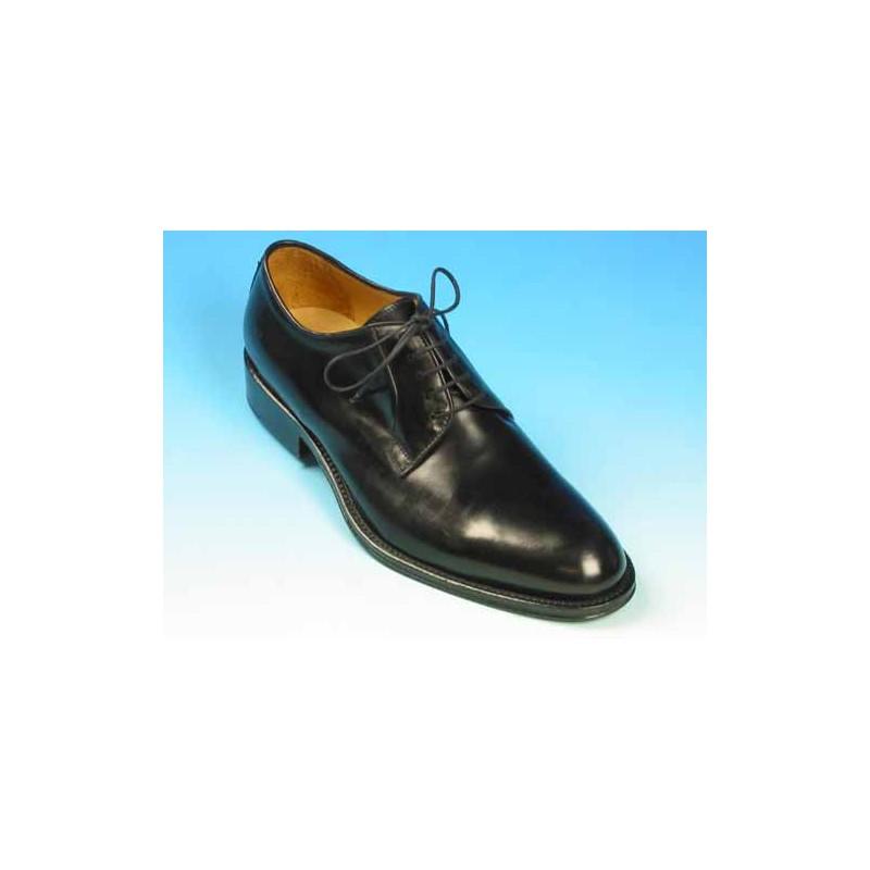 Chaussure derby à lacets pour hommes en cuir lisse noir - Pointures disponibles:  53, 54