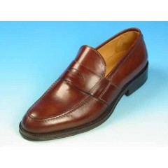 Men's elegant loafer in brown leather - Available sizes:  40, 50, 52, 53, 54