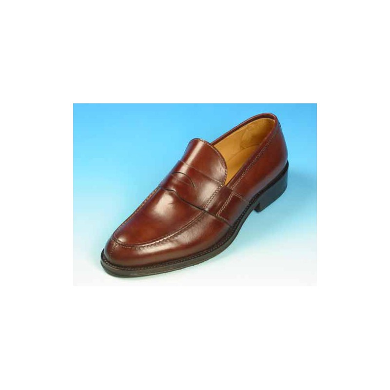 Men's elegant mocassin in brown leather - Available sizes:  40, 50, 52, 53, 54