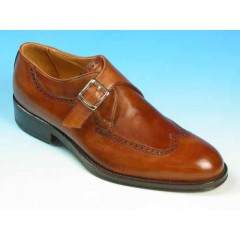 Men's elegant shoe with buckle and wingtip decoratins in tan brown leather - Available sizes:  37, 38, 39, 40, 41, 42, 44, 48, 49, 52, 53, 54
