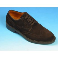 Men's derby laced shoe with Brogue decorations in brown suede - Available sizes:  39, 40