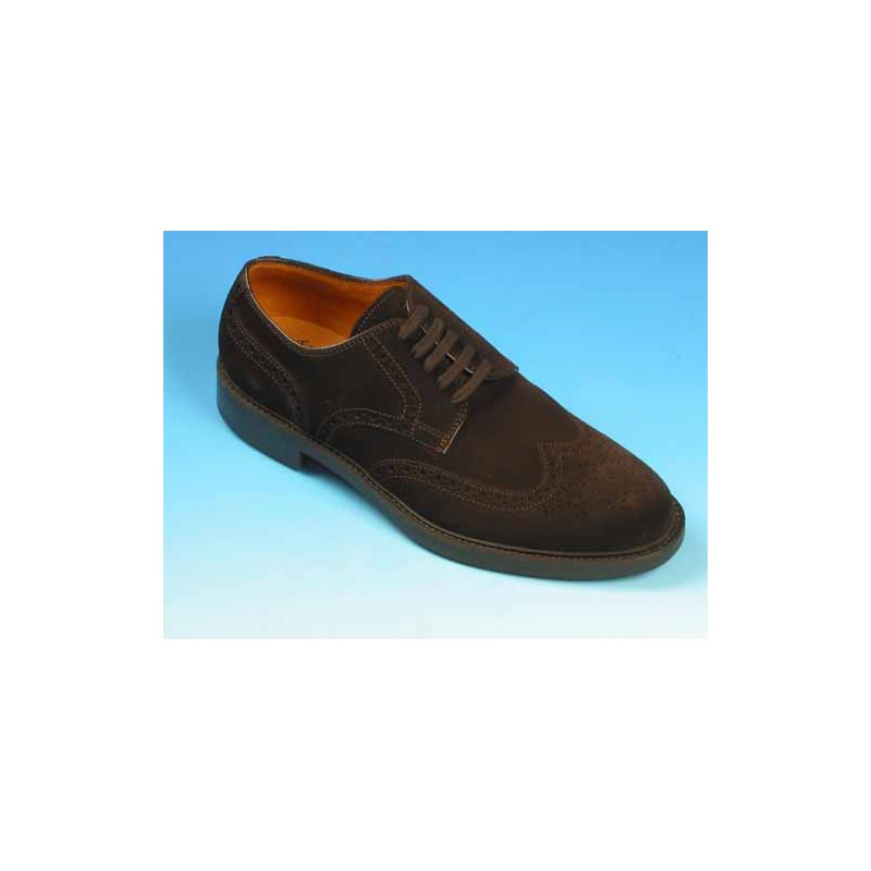 Zapato derby para hombre con cordones y decoracion Brogue en daim marron - Tallas disponibles:  39, 40