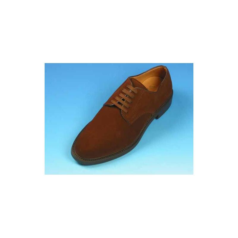 Zapato derby con cordones para hombre en gamuza marron - Tallas disponibles:  40, 44