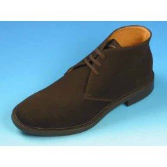 Men's ankle-high laced shoe in dark brown suede - Available sizes:  44