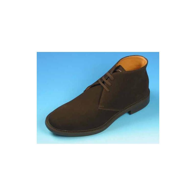 Zapato alto al tobillo con cordones para hombre en gamuza marron oscuro - Tallas disponibles:  44