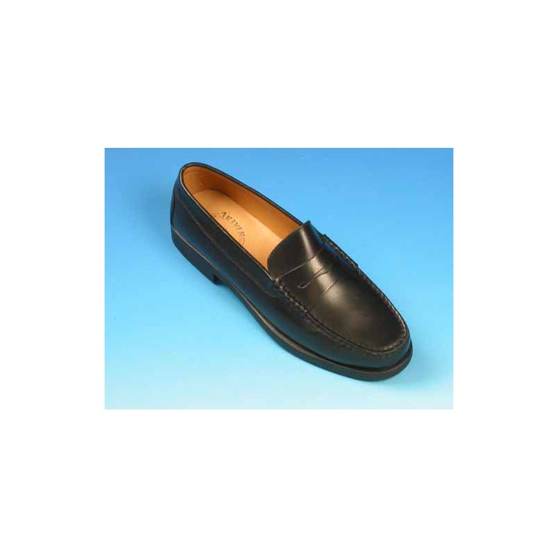 Men's elegant mocassin in black leather - Available sizes:  42