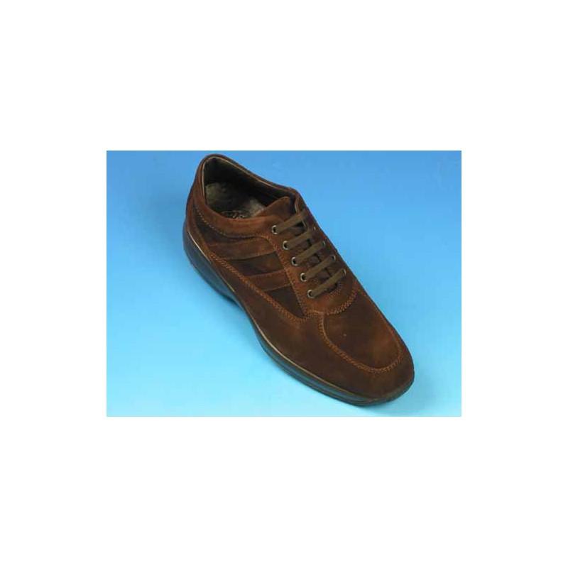 Zapato deportivo con cordones para hombre en gamuza marron - Tallas disponibles:  36, 39, 40