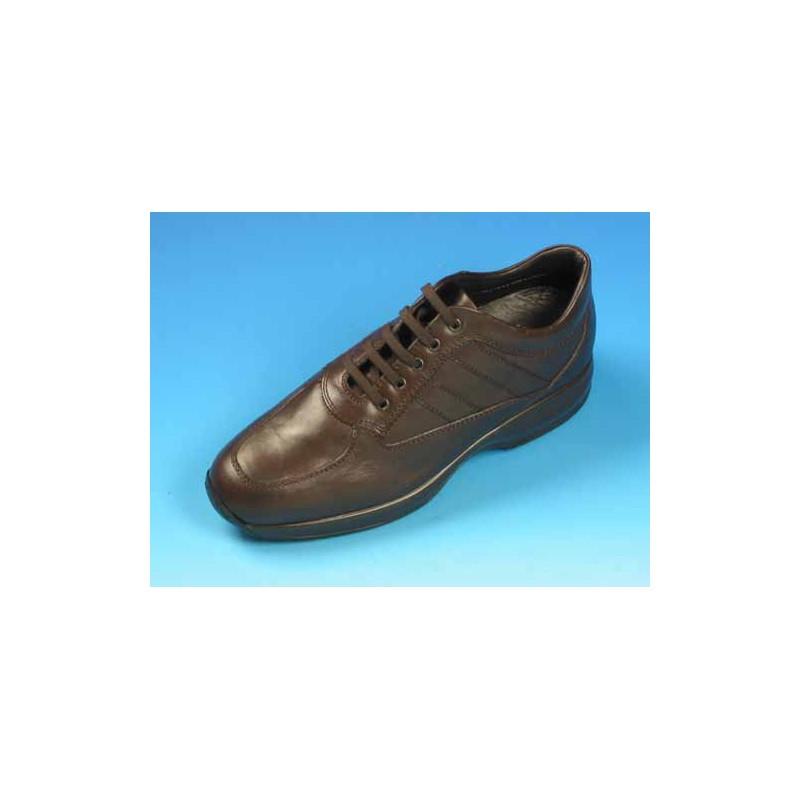Zapato con cordones para hombres en piel marron - Tallas disponibles:  36