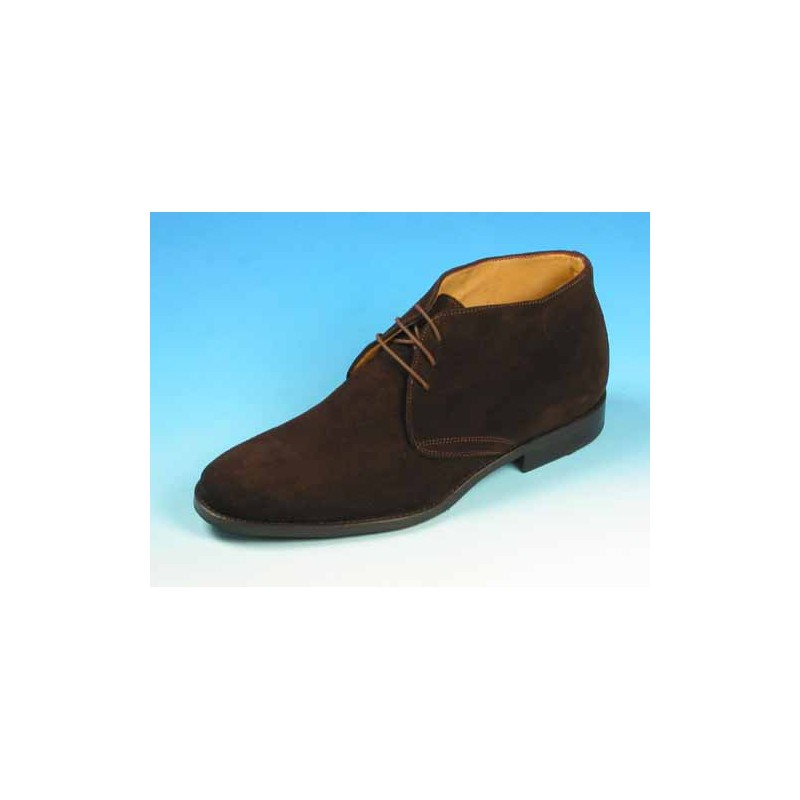 Men's laced ankle-high shoe in dark brown suede - Available sizes:  40, 44