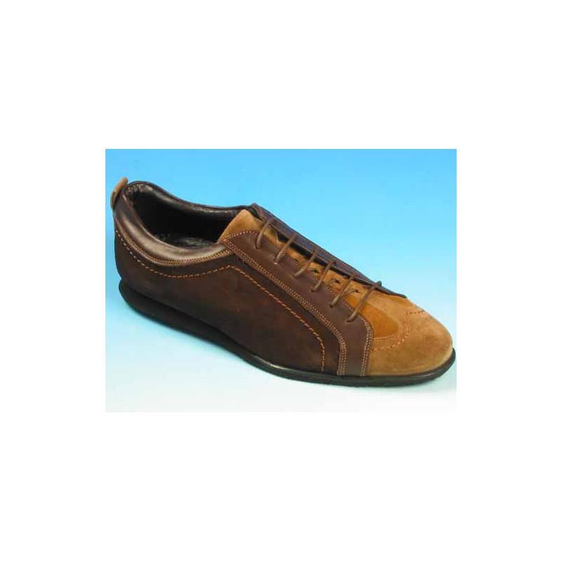 Zapato deportivo con cordones para hombre en piel y gamuza marron y gamuza beige camello - Tallas disponibles:  39, 40, 41