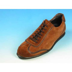 Men's laced sports shoe in tan brown suede - Available sizes:  40, 45
