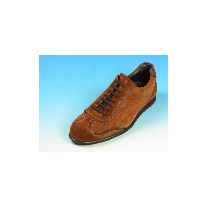 Men's laced sports shoe in tan brown suede - Available sizes:  39, 40, 45