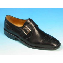 Men's elegant shoe with buckle and floral captoe in black leather - Available sizes:  45, 50, 52, 53, 54