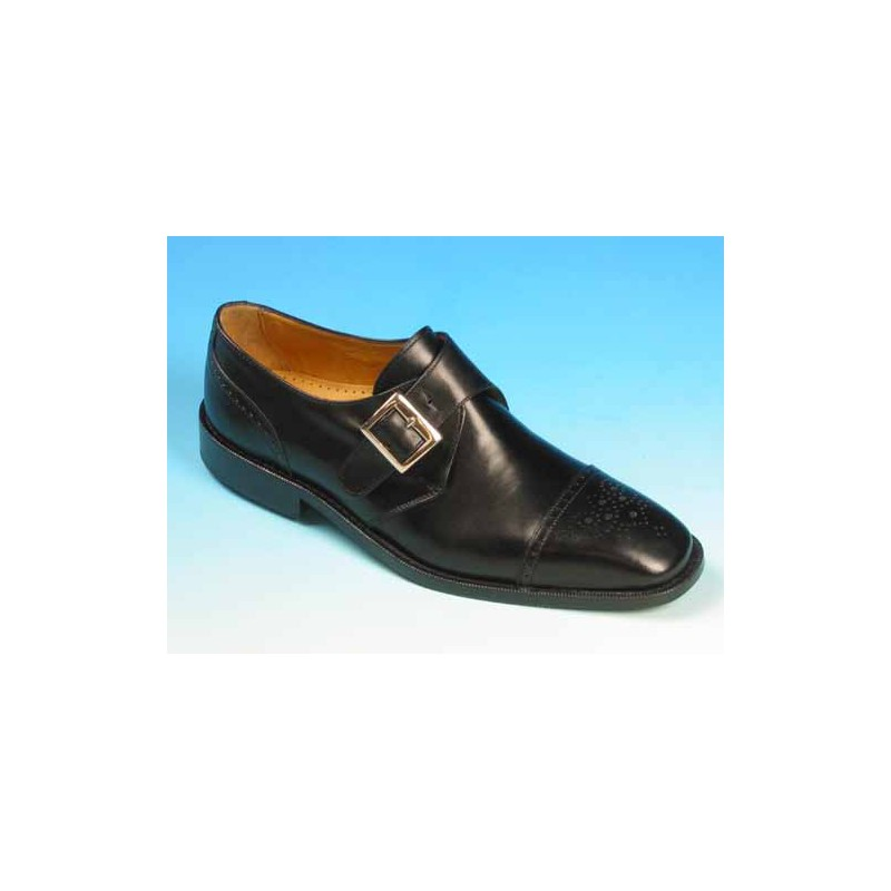 Men's elegant shoe with buckle in black leather - Available sizes:  45, 50, 52, 53, 54