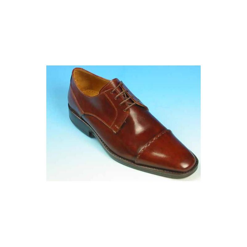 Chaussure derby à lacets avec bout droit pour hommes en cuir marron - Pointures disponibles:  43, 44, 45, 50, 51, 52, 53, 54