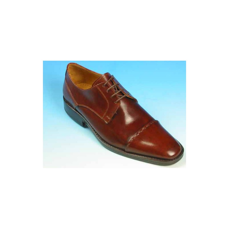 Men's laced derby shoe with captoe in brown leather - Available sizes:  43, 44, 45, 50, 51, 52, 53, 54