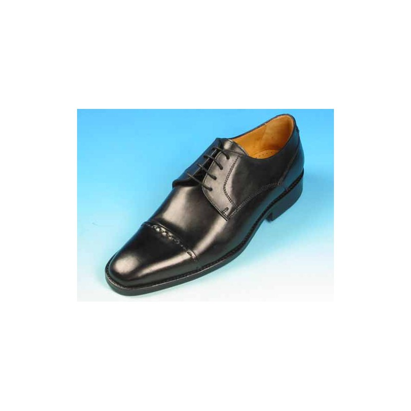 Men's laced derby shoe with captoe in black leather - Available sizes:  51, 52, 53