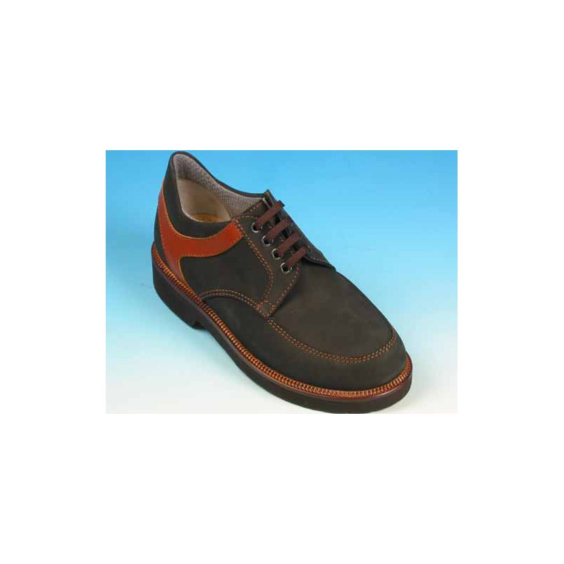 Men's laced shoe in black nubuck leather and tan brown leather - Available sizes:  40, 41, 43