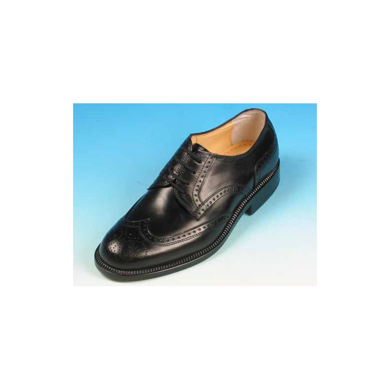 Men's elegant laced derby shoe with Brogue decorations in black leather - Available sizes:  40