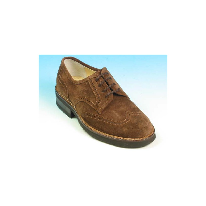 Men's laced derby shoe with Brogue decorations in brown suede - Available sizes:  40, 43