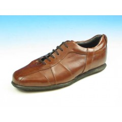 Men's laced sports shoe in brown leather - Available sizes:  45, 51, 53