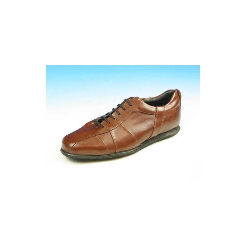 Men's laced sports shoe in brown leather - Available sizes:  45, 53
