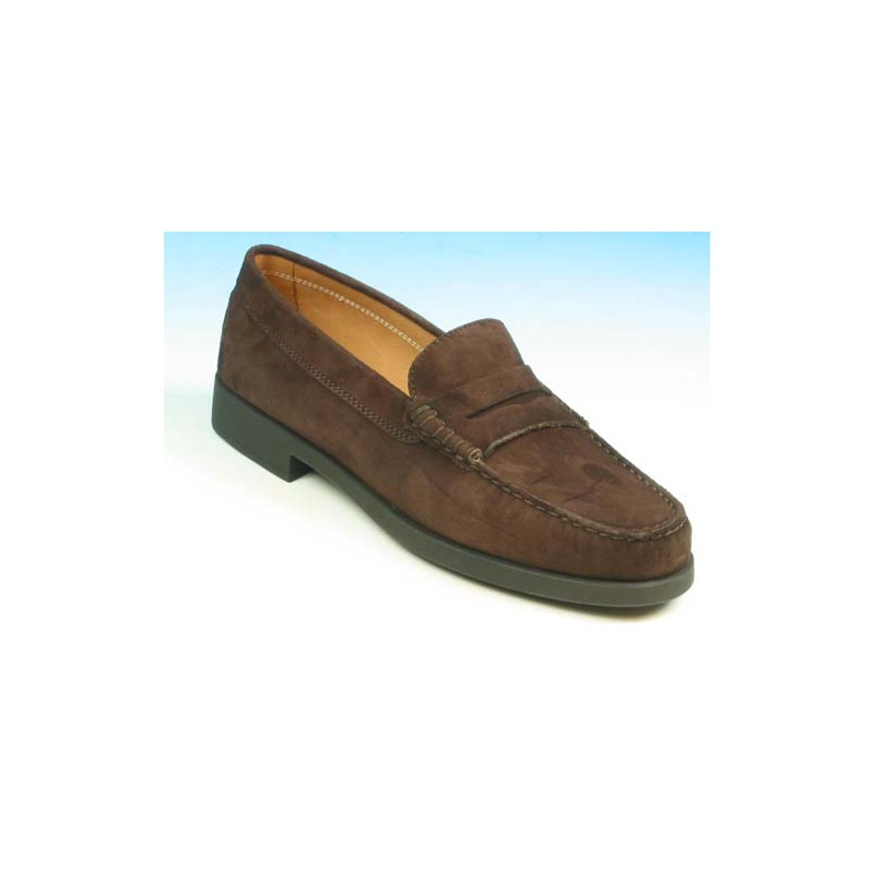 Men's mocassin in brown suede - Available sizes:  36, 40, 41