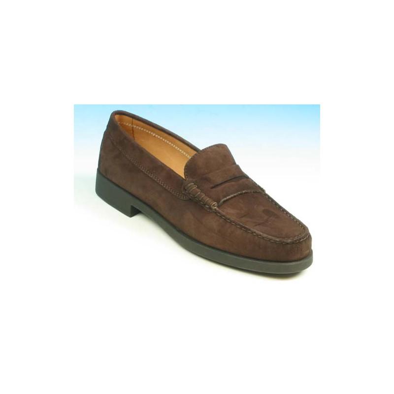 Mocasino para hombres en gamuza marron - Tallas disponibles:  40, 41