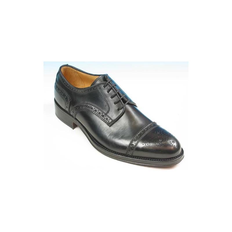 Chaussure derby à lacets avec bout droit fleuri pour hommes en cuir noir - Pointures disponibles:  51, 52, 53, 54
