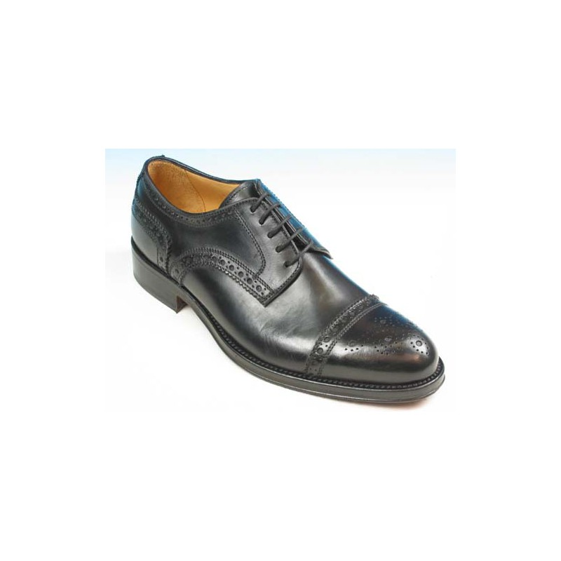 Men's laced derby shoe with floral captoe in black leather - Available sizes:  51, 52, 53, 54