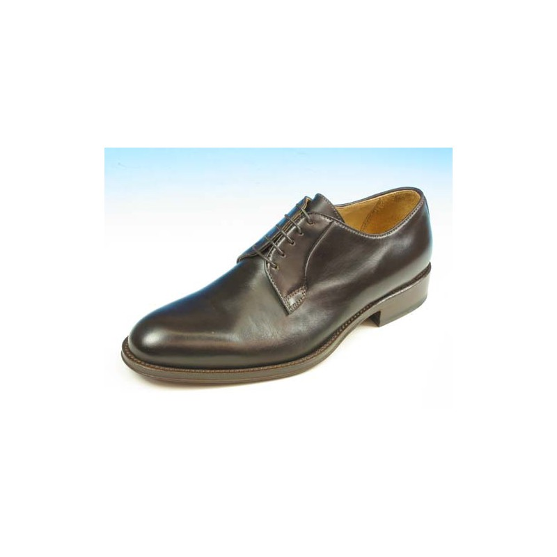 Men's laced derby shoe in dark brown leather - Available sizes:  40, 41