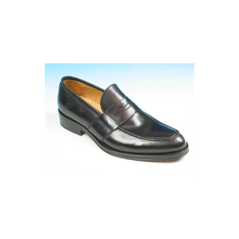 Men's elegant mocassin in black leather - Available sizes:  52, 53
