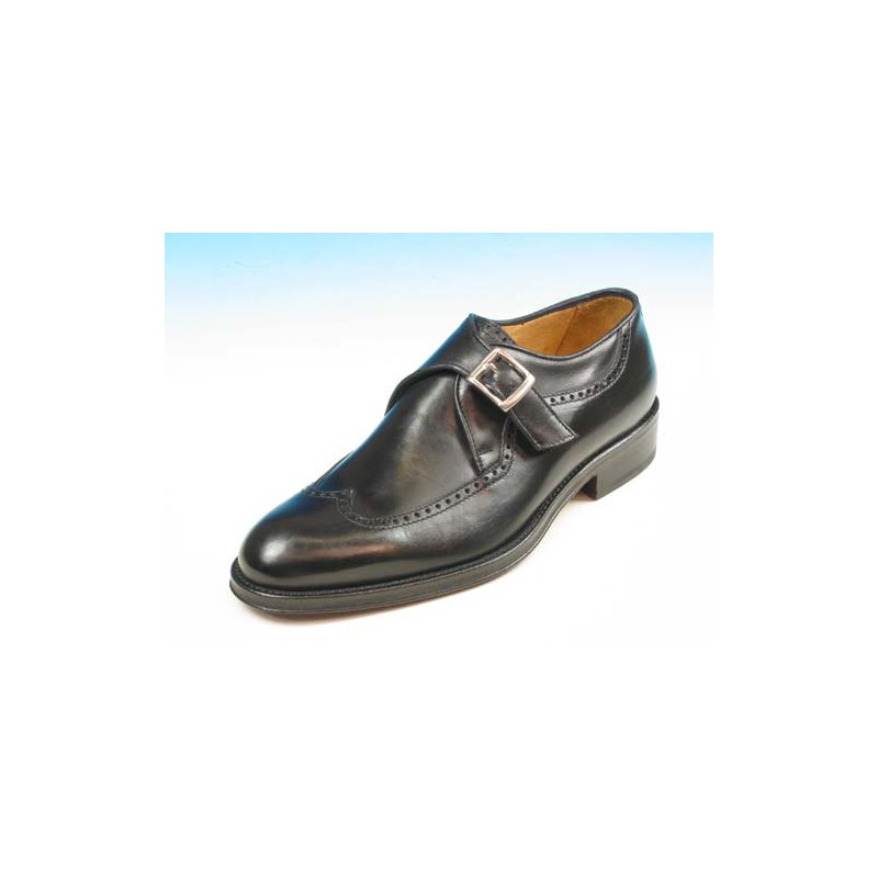 Men's elegant shoe with buckle and wingtip decorations in black leather - Available sizes:  37, 40, 44, 50, 52, 54