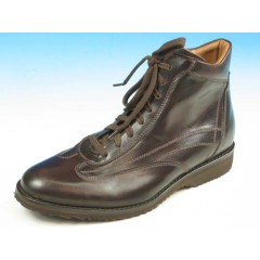 Men's laced ankle shoe in dark brown leather - Available sizes:  39, 40, 41, 45
